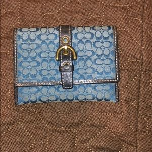Coach signature card holder with buckle closure